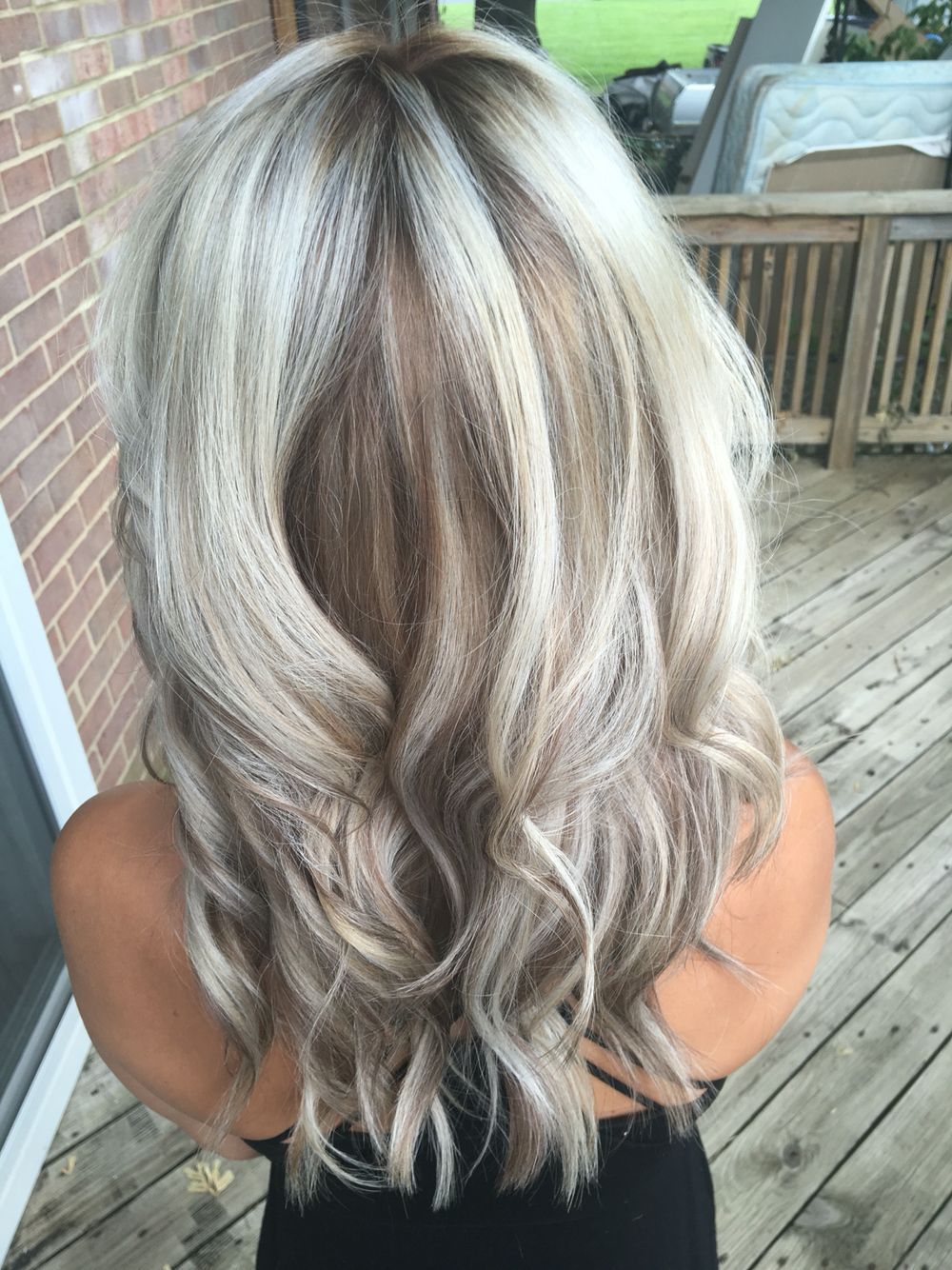Silver Metallic Blonde With Caramel Smudge Low Light In