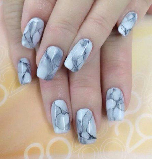 35 Gray Nail Art Designs   Marble nails, Marble nail art and Marbles