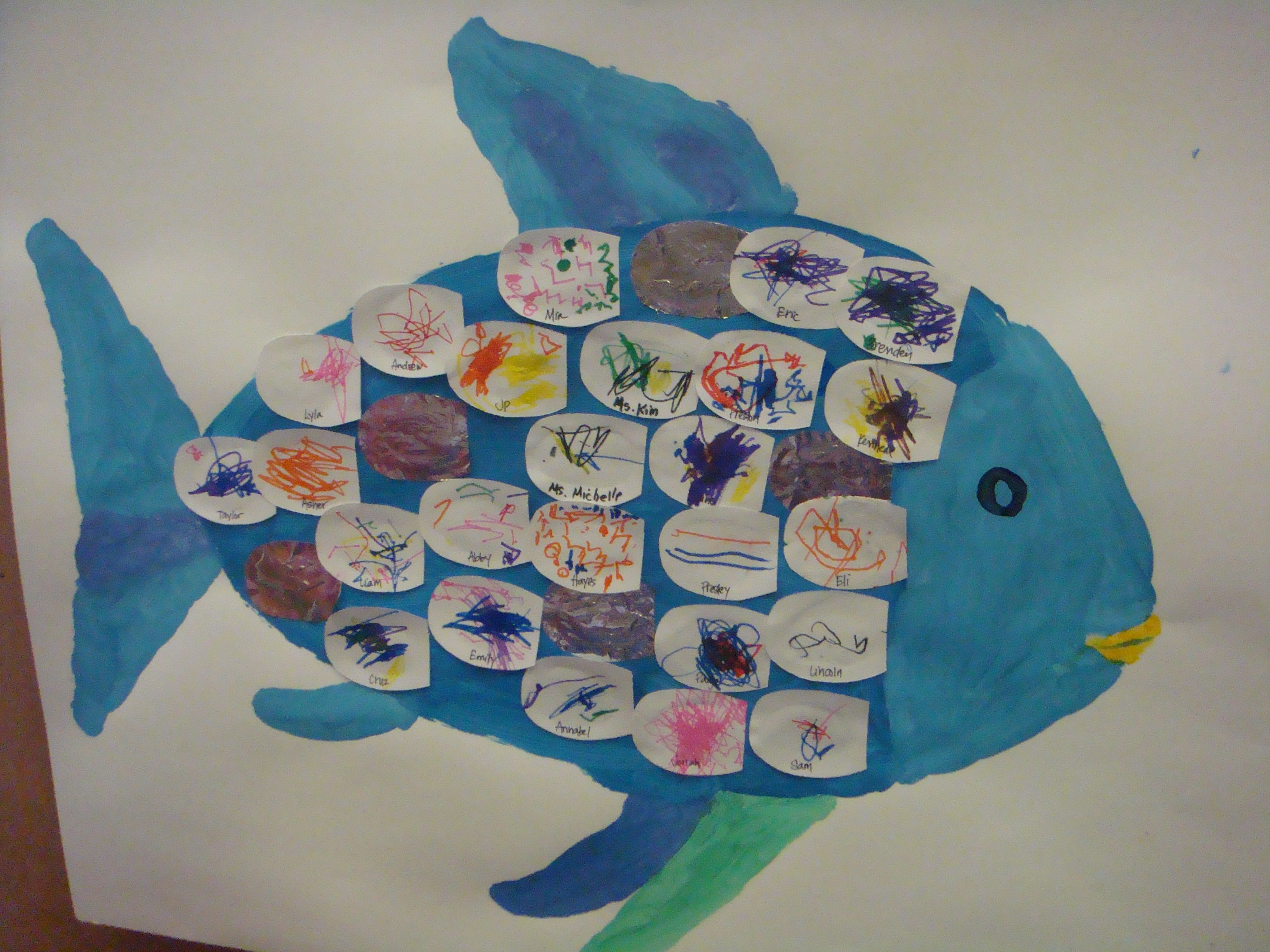 Rainbow fish kids decorate scales to add book for Rainbow fish activities