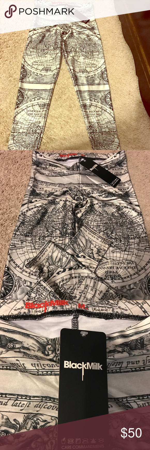 Blackmilk leggings nwt blackmilk leggings these black milk leggings feature a world map print and are brand new never gumiabroncs Choice Image