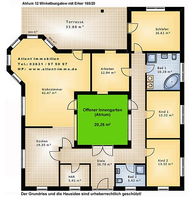 Einfamilienhaus neubau mit erker  Atrium 12 Winkelbungalow mit Erker 165 20 Einfamilienhaus Neubau ...