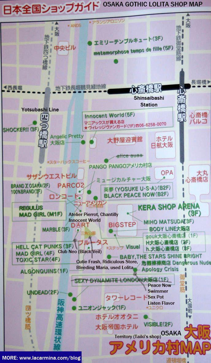 OSAKA HARAJUKU LOLITA SHOPPING MAPS WHERE TO BUY GOTHIC LOLITA - Map a list of addresses
