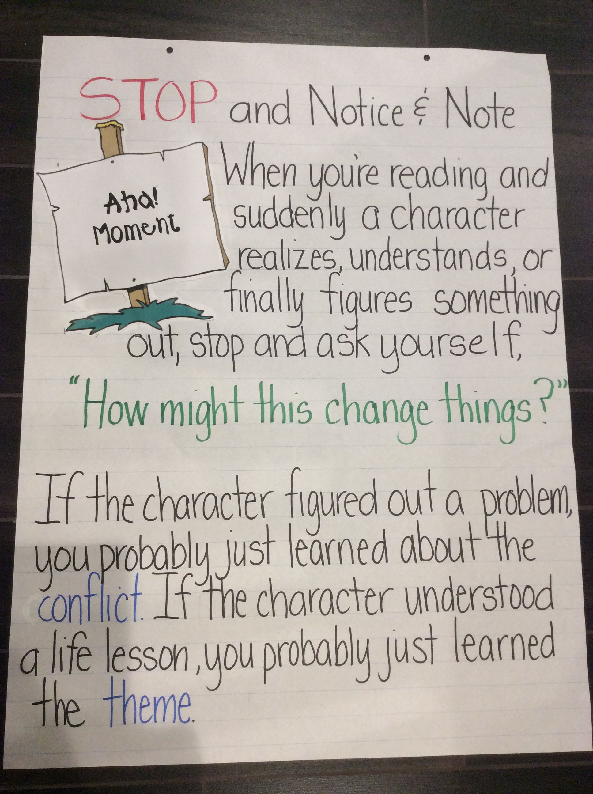 Notice And Note Anchor Chart Aha Moment I Made This