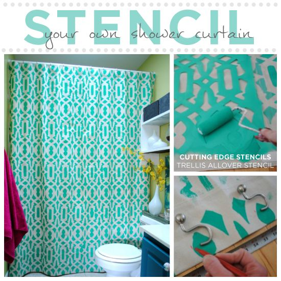Learn How To Stencil Your Shower Curtain With Images Diy Shower Curtain Diy Shower Curtains