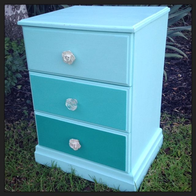 Ombre Bedside Table Painted In A Colour Mix Of Pure White And Florence And Finished With Stunning Handles Wha Beautiful Furniture Home Projects Modern Colors
