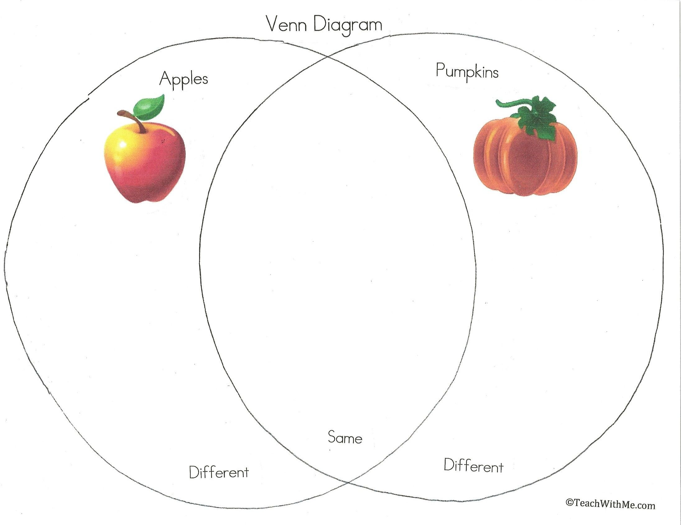 Apple Pumpkin Venn Diagram October Art Activities Apple Pumpkin Graphs
