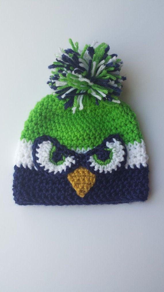 Seahawks toddler hat, Hand Knit Toddler hat, crochet beanie, Toddler ...