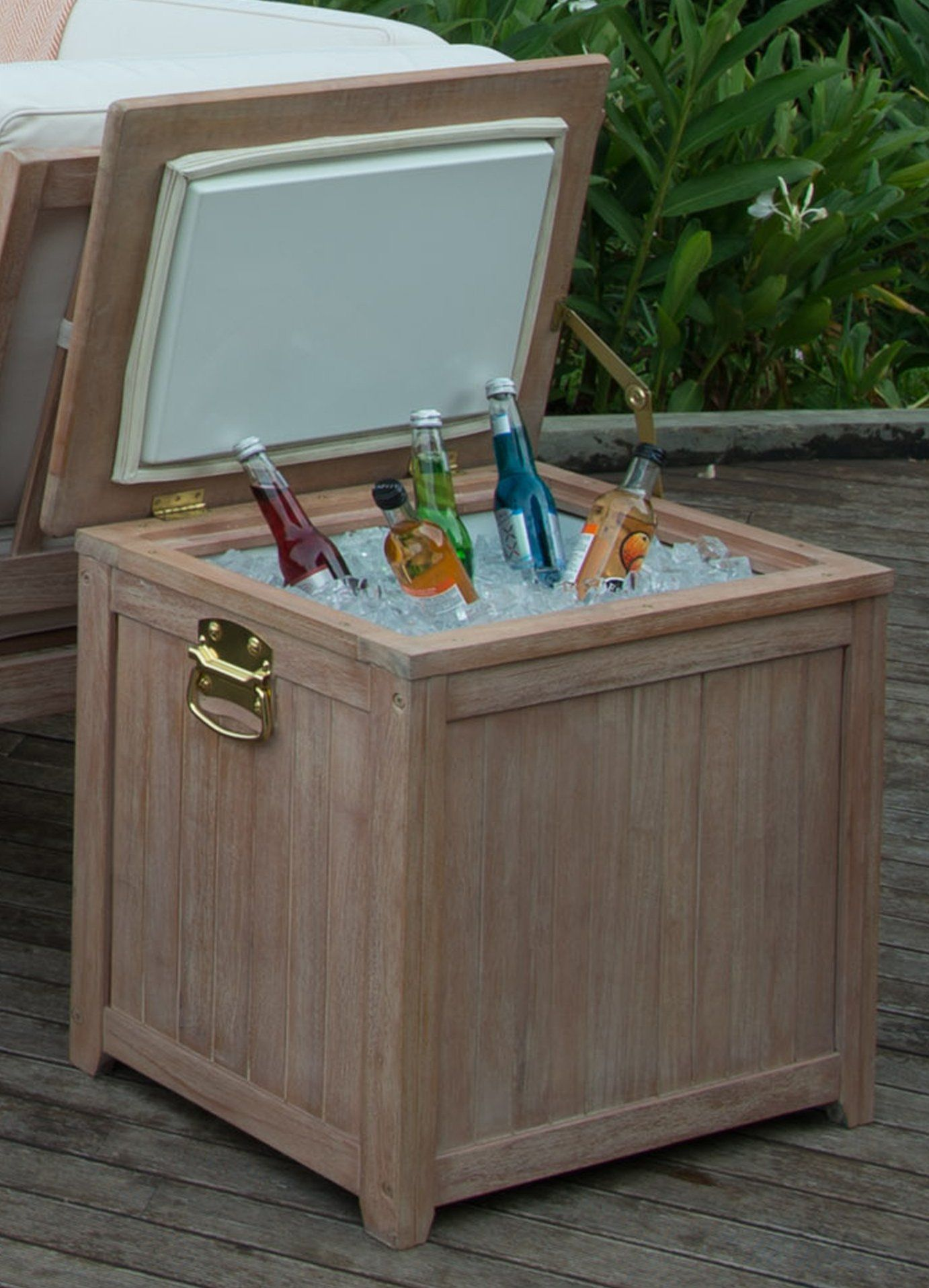 Cambridgecasual willow wooden ice chest cooler weathered