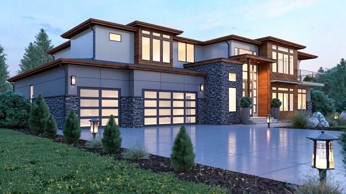 Plan 666024raf Modern House Plan With 2 Story Ceilings And Walls Of Glass In 2021 Contemporary House Exterior Modern Style House Plans Modern Contemporary House Plans