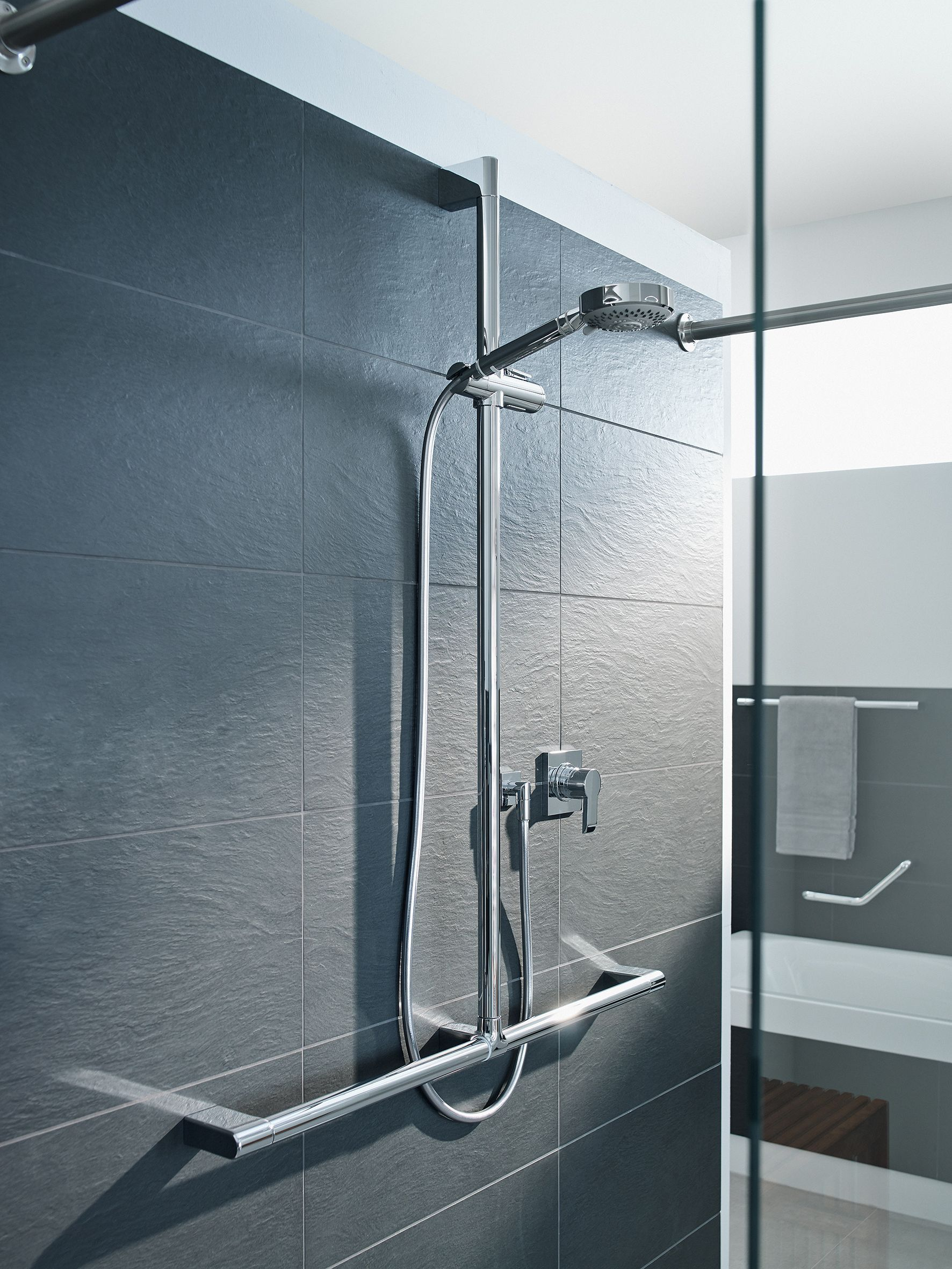Shower Slide Rail with Grab Bar - luxury disabled bathrooms