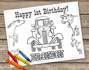 Little Blue Truck Personalized Birthday Party Coloring Page Little Blue Trucks Truck Coloring Pages Happy 1st Birthdays