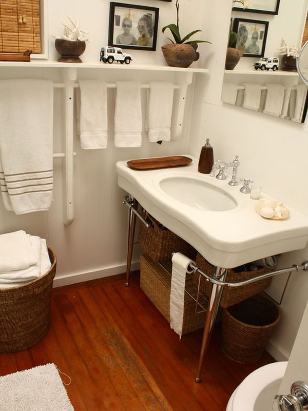 7 Creative Uses For Towel Racks Traditional Bathroom Bathroom Towels Towel Rack