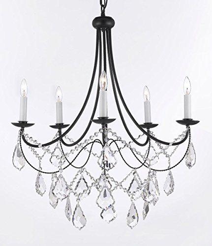 "Empress Crystal (tm) Wrought Iron Chandelier Chandeliers Lighting H.22.5"" x W.26"" Gallery http://www.amazon.com/dp/B00U2ZUD1Y/ref=cm_sw_r_pi_dp_WXulwb1PMFBNG"