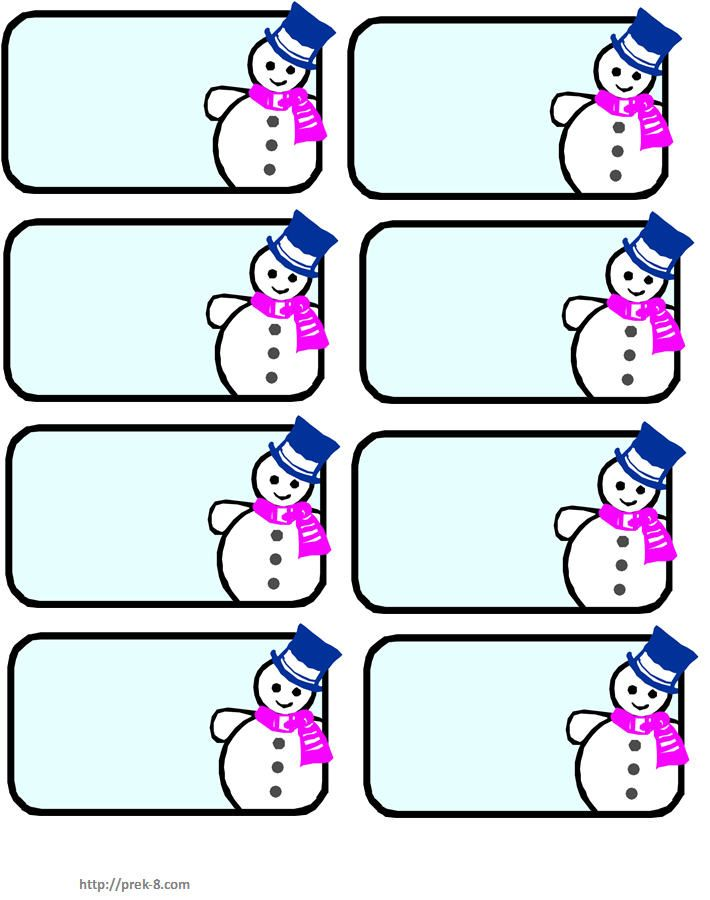 Snowman name tags winter wonderland pinterest for Name templates for preschool