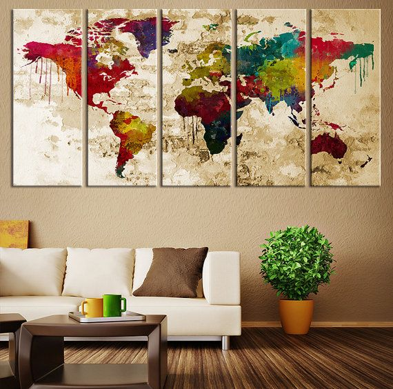 CANVAS ART World Map Canvas Print Large Watercolor World Map - Oversized map prints