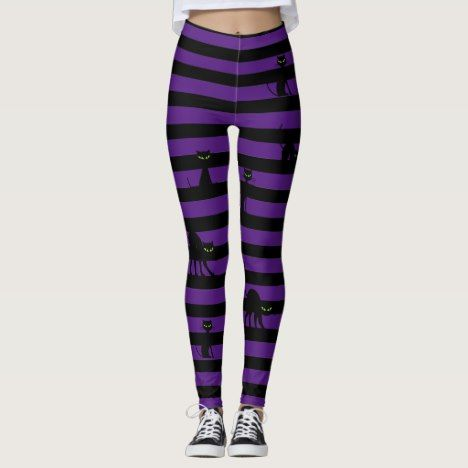Halloween Black Cat & Stripes Leggings- Purple Leggings | Zazzle.com #stripedleggings