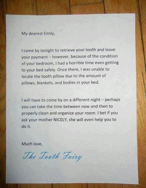Tooth Fairy letter - uh-oh messy room alert! #BrightsideDentalCare ...