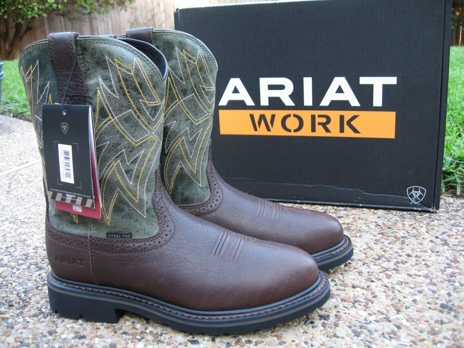 c8a712deeba NEW Mens ARIAT Everett Brown / Sage Green Leather Steel Toe Work ...