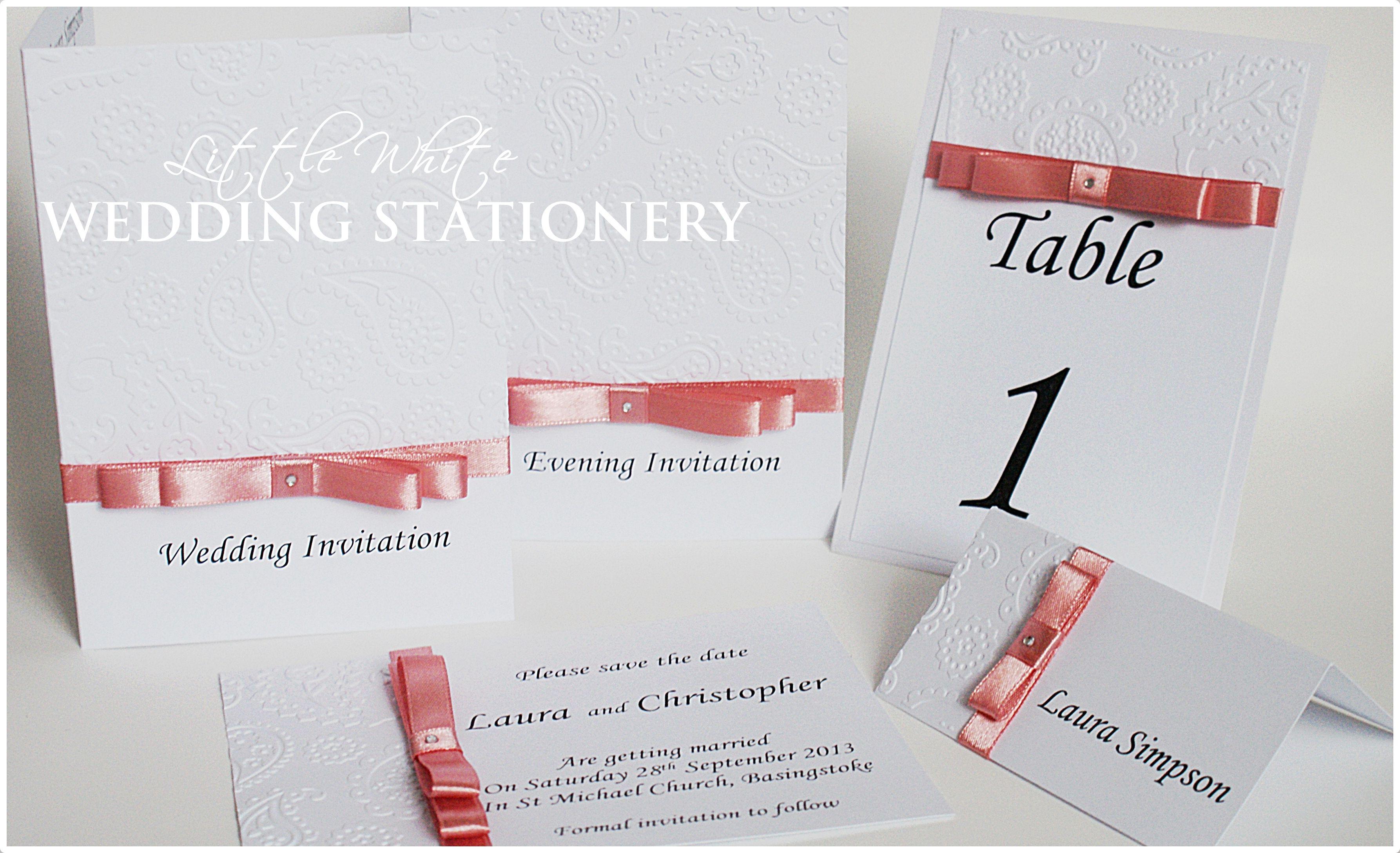Bow & Embossed Range Wedding Invitation Wedding Stationery pop over ...