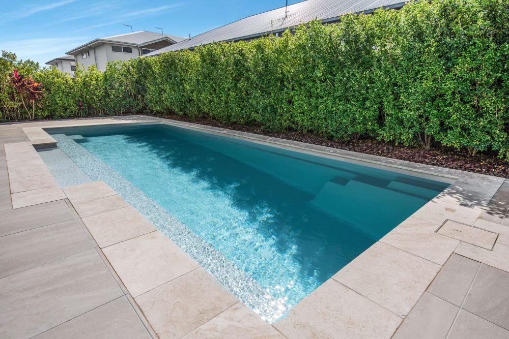 Symphony 9 Silver Pearl Installed By Narellan Pools Sunshine Coast Moreton Bay Pool Colors Pool Houses Backyard Pool