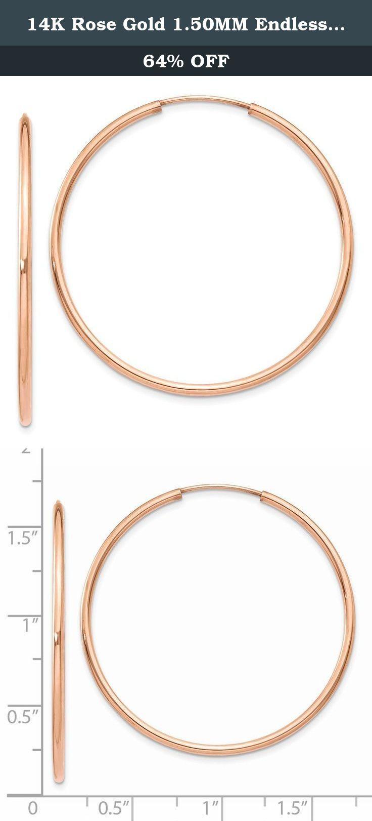 14K Rose Gold 150MM Endless Round Tube Hoop Earrings Caring For