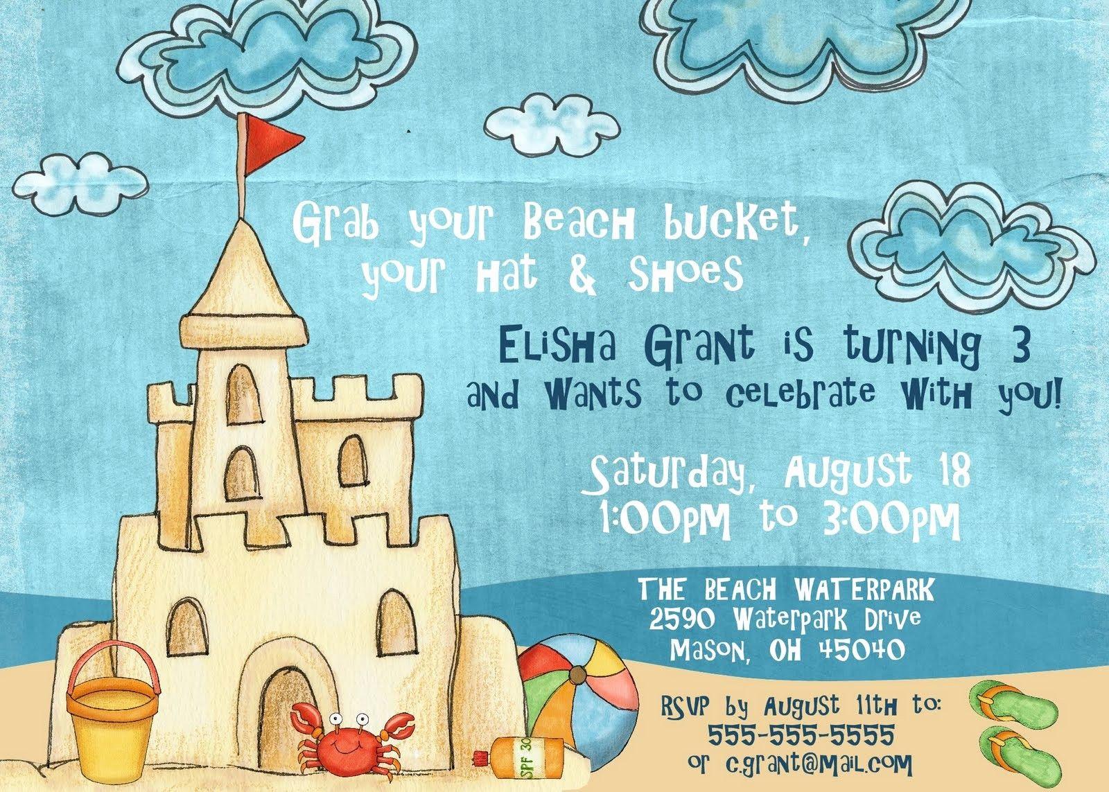 Birthday Invitation Templates Word 2003 In 2020 Beach Birthday Party Beach Birthday Invitations Beach Birthday