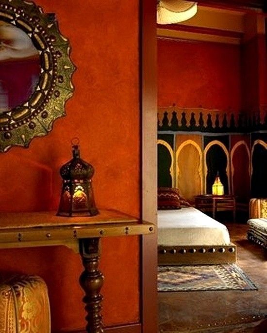Exotic Moroccan Bedroom Design Idea - Love the color of the walls!