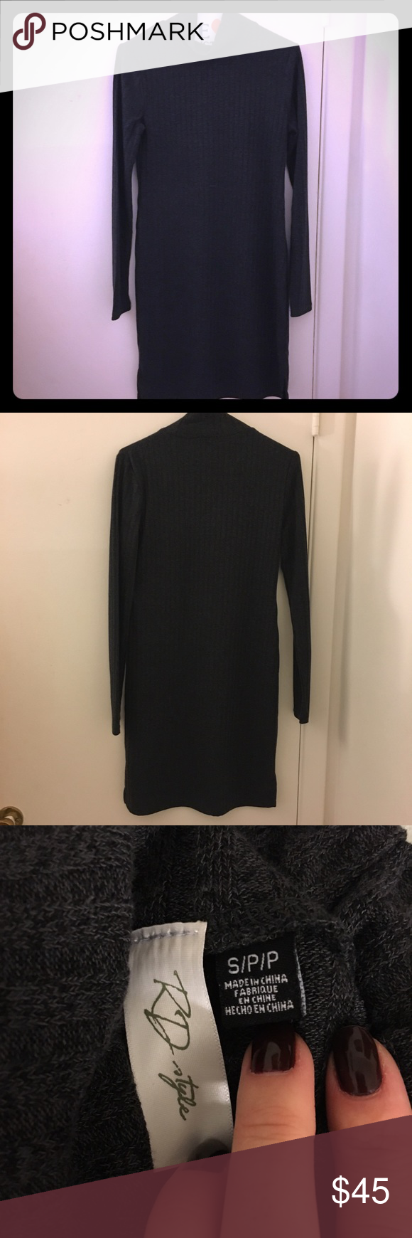 Nwot rd style turtleneck dress never worn dark grey turtleneck