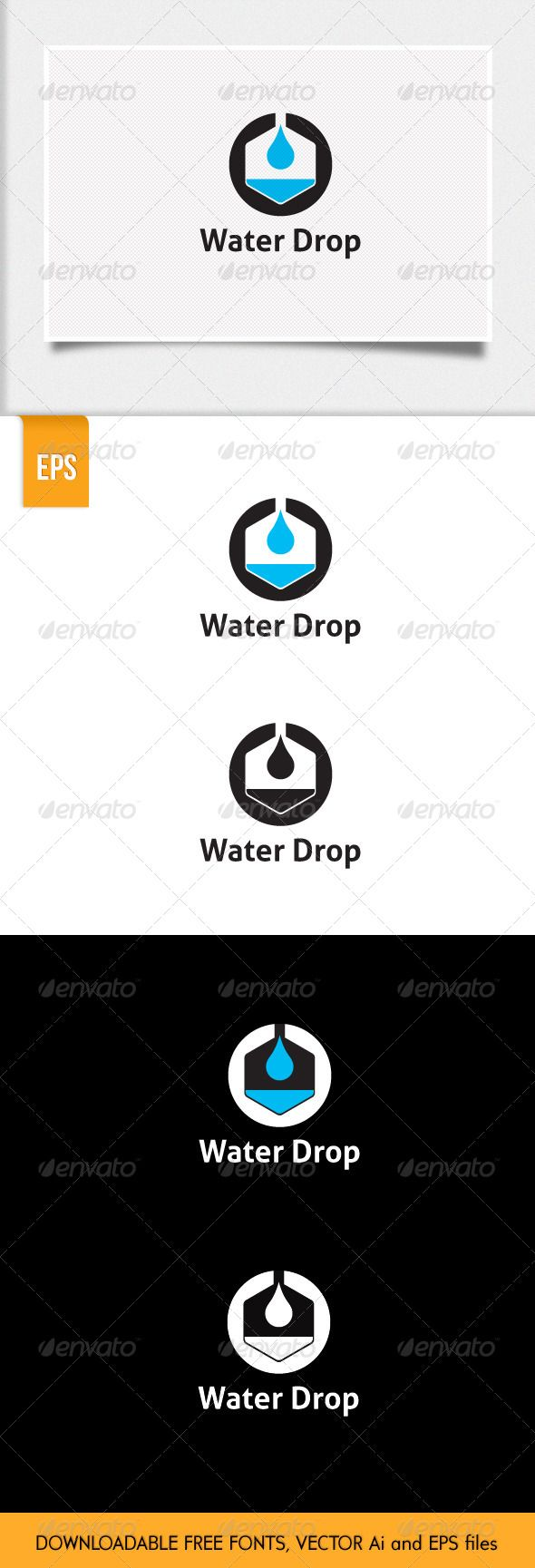 Water Drop Logo  #GraphicRiver         The logo is excellent for oil, water, pharmacy, chemical companies. Vector files, free fonts are used. Please download it here.  Aller Bold  .fontsquirrel /fonts/aller  File formats: EPS, Ai   Don't hesitate to contact me if you have any question.     Created: 15October13 GraphicsFilesIncluded: VectorEPS #AIIllustrator Layered: No MinimumAdobeCSVersion: CS Resolution: Resizable Tags: chemical #chemistry #corporate #drop #logo #oil #pharmacy #water