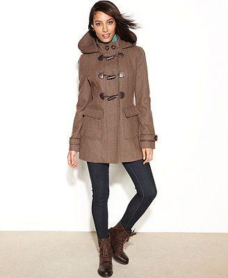 Laundry By Design Coat Hooded Wool Blend Toggle Front Duffle Trendy Coat Duffle Coat Coats For Women