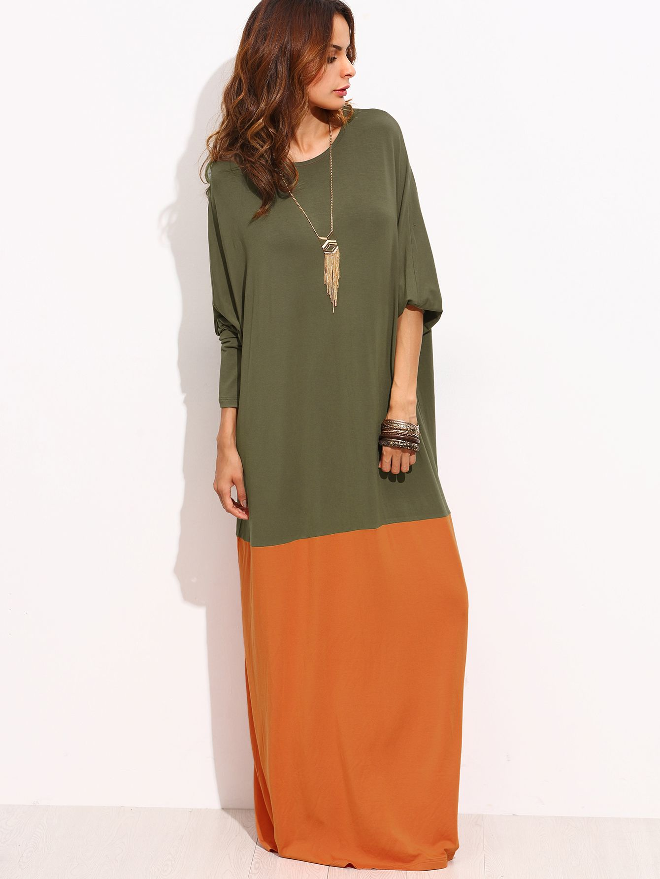 Contrast kaftan floor length dress hijabs pinterest long