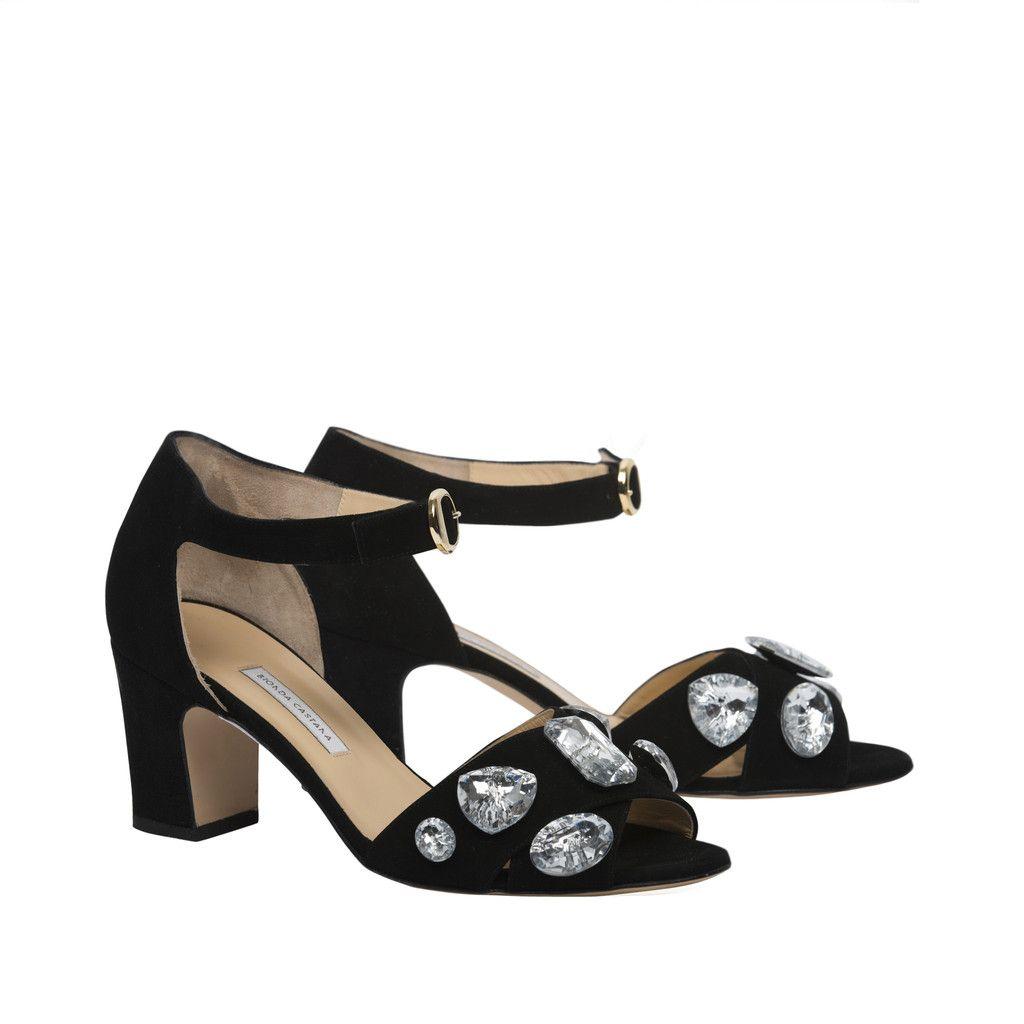 'Maggie' - Black Calf Suede Sandals w/ Crystals. 75mm Heel. – Bionda Castana Online Store