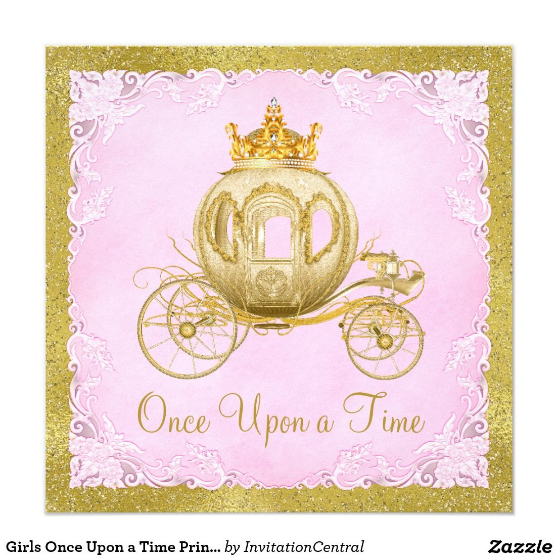 Girls Once Upon A Time Princess Carriage Birthday Card Kids