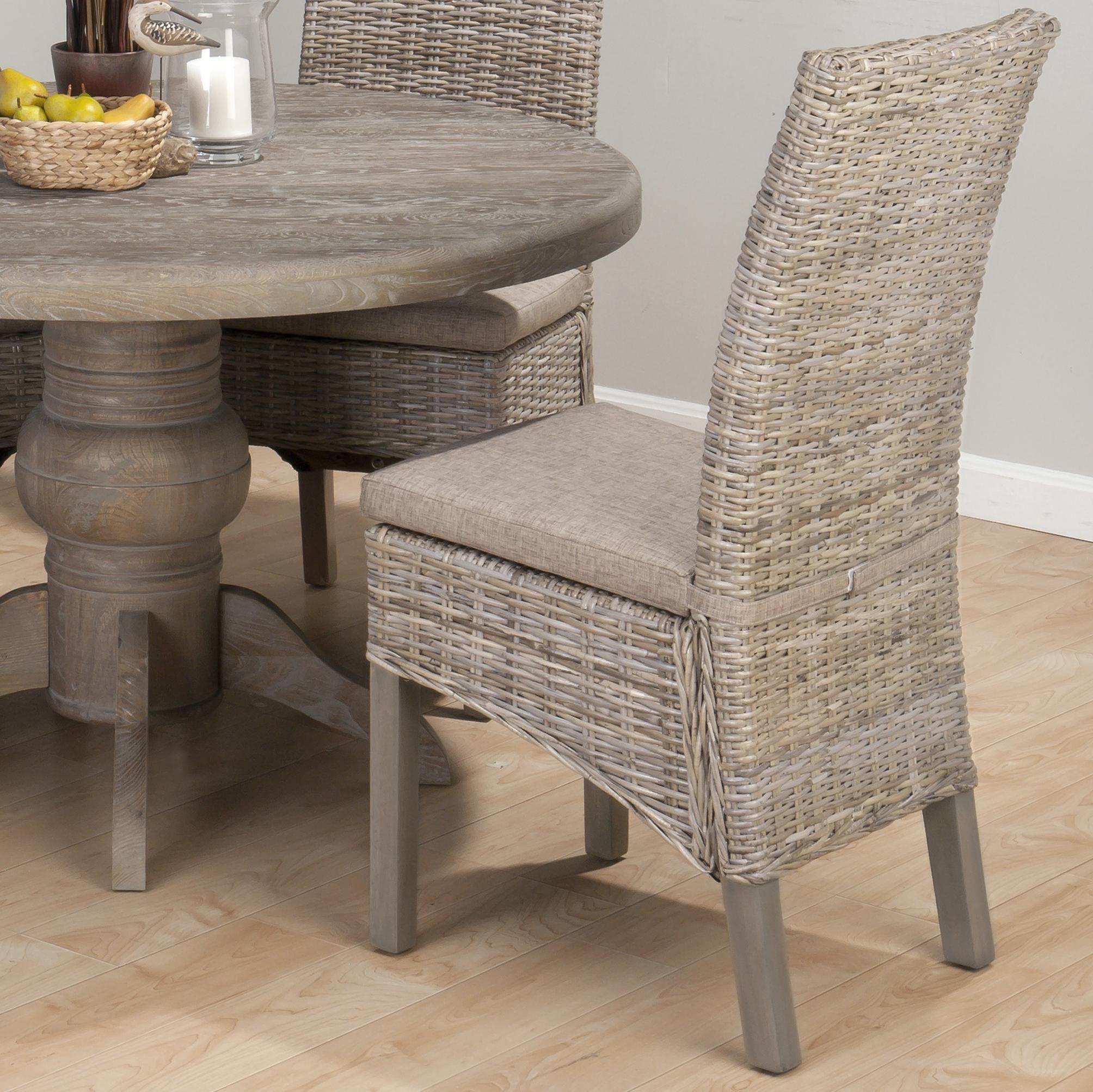 Maryland Company 856 Coastal Kubu Rattan Dining Side Chair With Oatmeal  Linen Seat By Jofran
