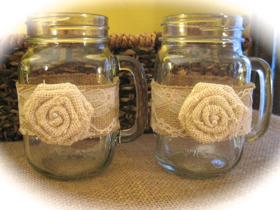Rustic Wedding Mason Jar Burlap and Lace by AvalonsBrowsery