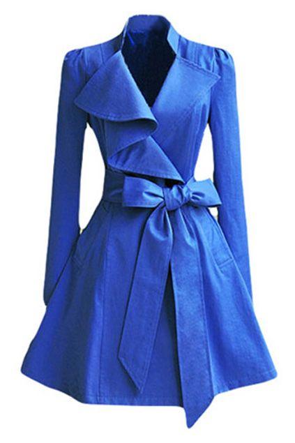 f63f9cf8960 Bright blue coat love | My Style in 2019 | Blue trench coat, Coat ...