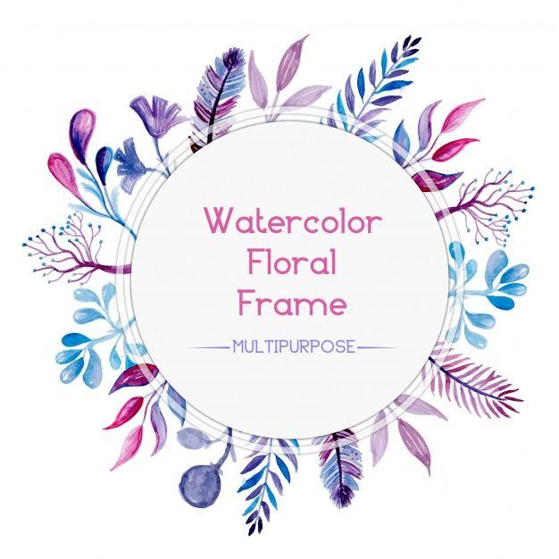 Marco floral en acuarela rosa y azul Vector Gratis | gracias por ...