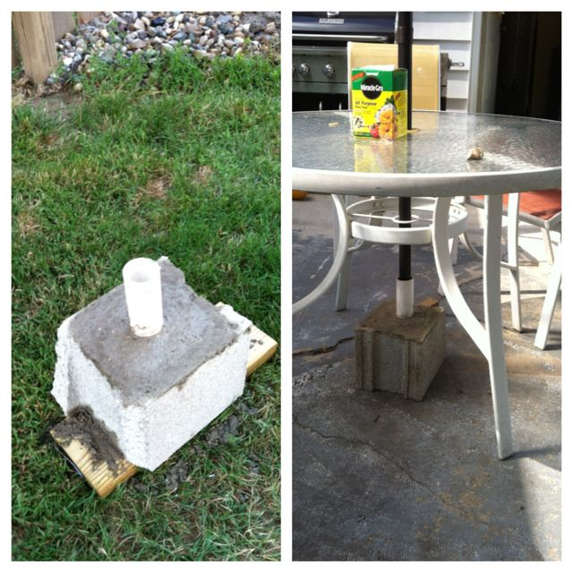 Homemade Umbrella Stand Half A Cinder Block 1 Of Pvc 1 5 Or 2 Depending On Umbrella Pole Size And A Lit Backyard Living Garden Containers Umbrella Stand