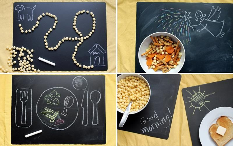 DIY Chalkboard Placemats: Make any meal a fun and crafty experience for your kids. Here's 4 creative ways to use!