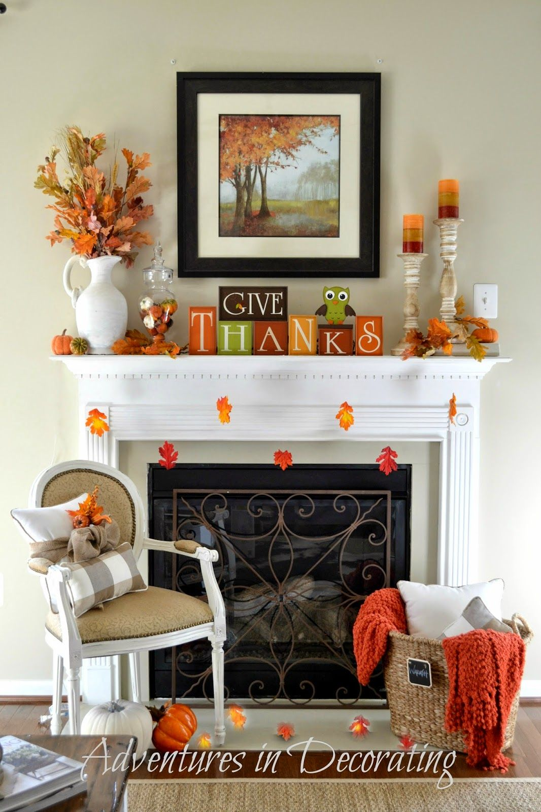 Adventures In Decorating Our Fall Kitchen: Our Simple Fall Mantel ... (Adventures In Decorating