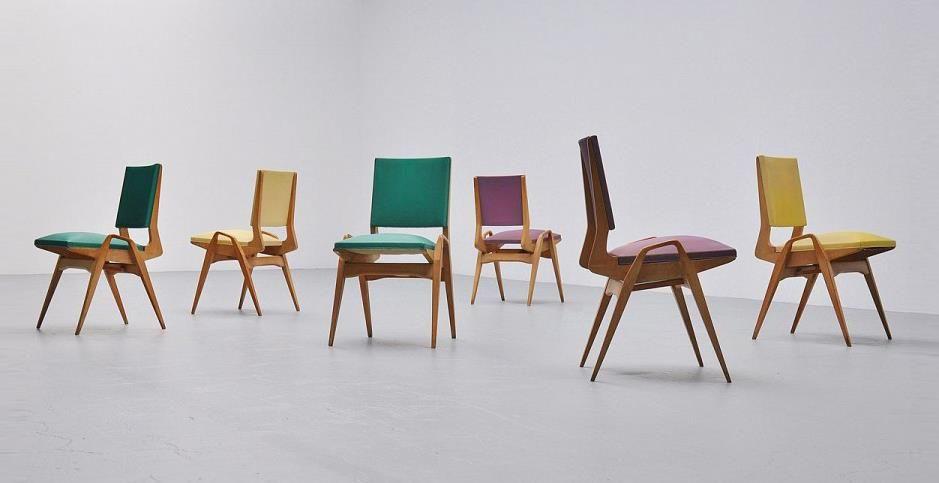 Coloré des chaises de salle à manger, conçu par Carlo de carli et - salle a manger design moderne