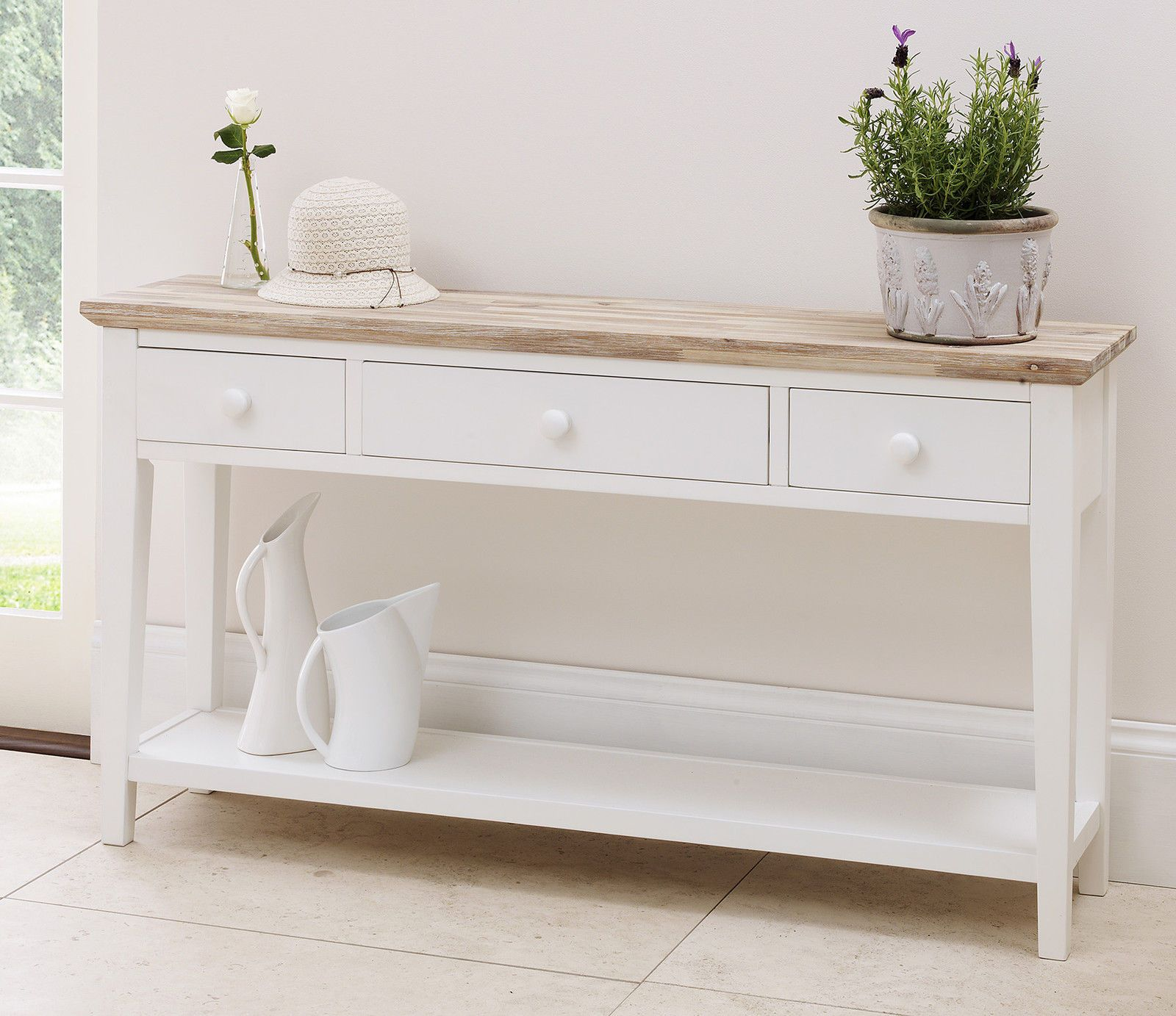Florence White Console Table Stunning Kitchen 3 Drawers Bargain Ebay
