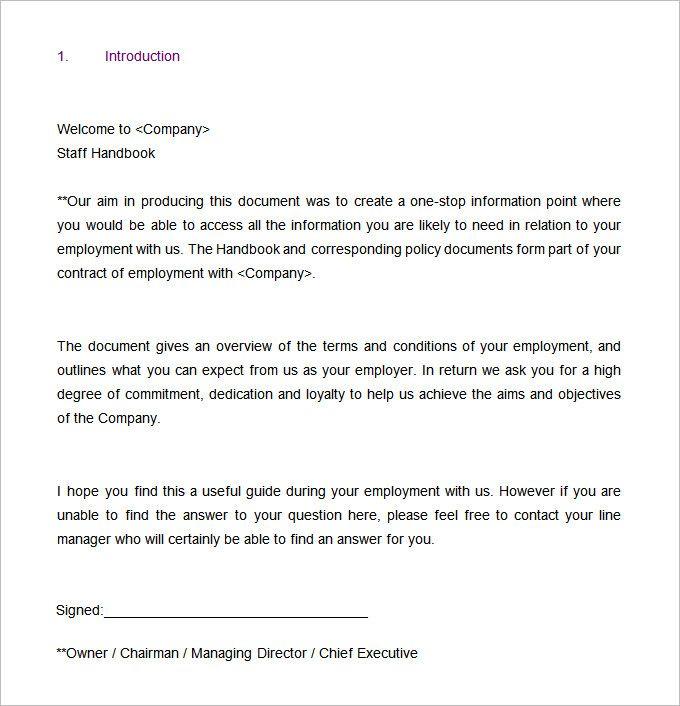 13+ Employee Handbook Templates | Word, Excel & PDF Templates | www ...