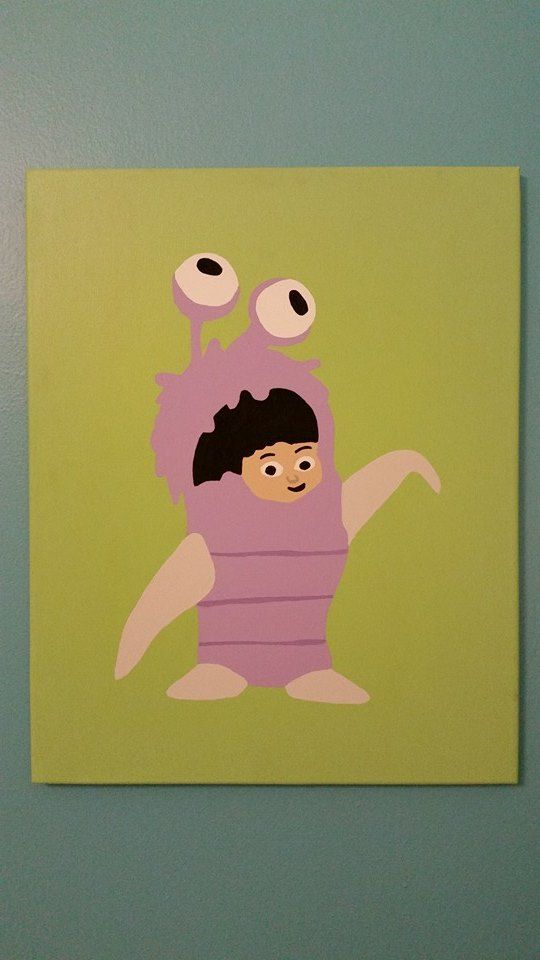 Hand painted Boo Canvas for Monsters Inc Nursery 16\