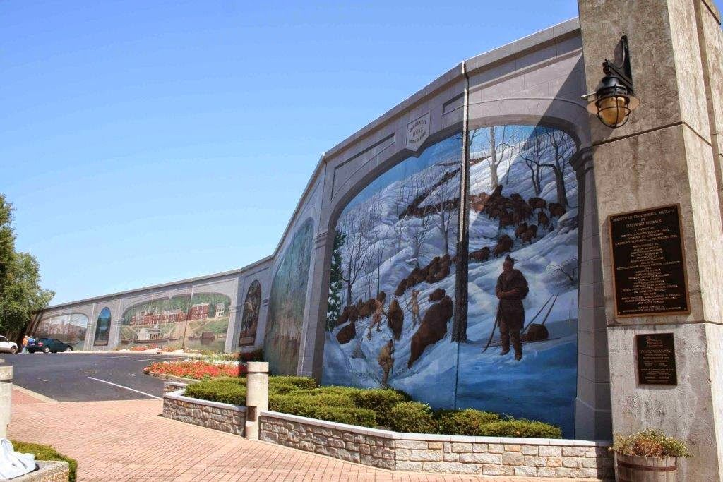 Main part of the Maysville, Kentucky, floodwall murals.