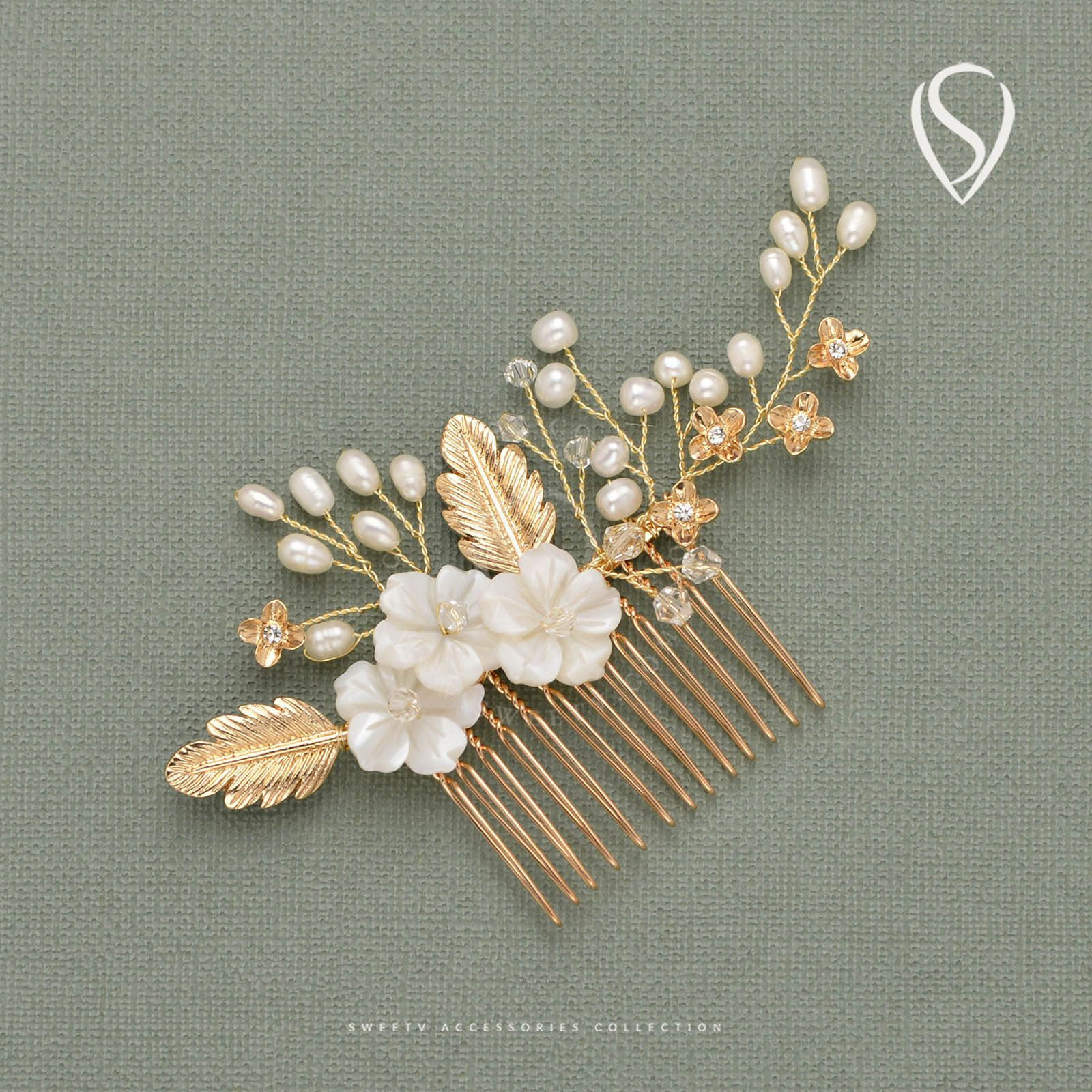 Wedding accessories pearls flowers pearls - Gold Romantic Bridal Hair Comb Clip Pearl Flower Hairpin Women Hair Accessories
