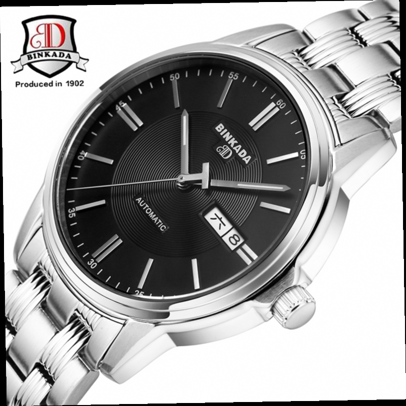 52.93$  Watch now - http://ali5ee.worldwells.pw/go.php?t=32723228052 - Montre Homme 2017 BINKADA New Men Mechanical Watch Luxury Brand Simple Design Auto Date Automatic Analog Leather Men Wristwatch