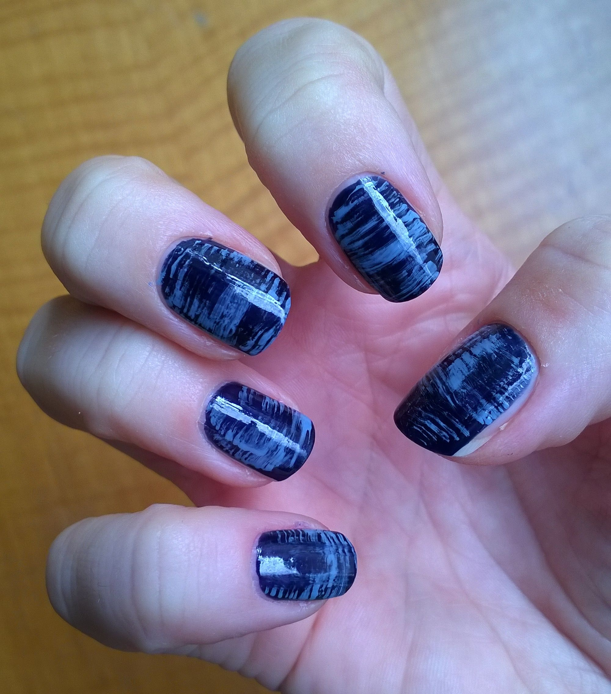 Blue stripped fan brush nails https://www.youtube.com/watch?v ...