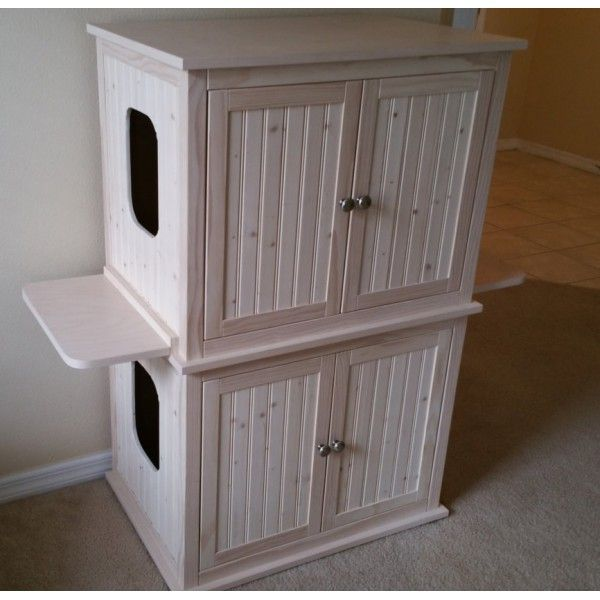 Stacked Double Cat Litter Box Cabinet with Odor Absorbing Light ...