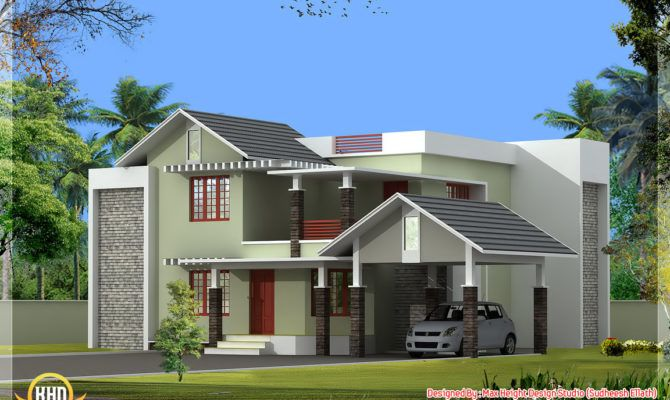 Parapet Design Kerala Style Home Designs Kerala House Design House Front Design Model House Plan